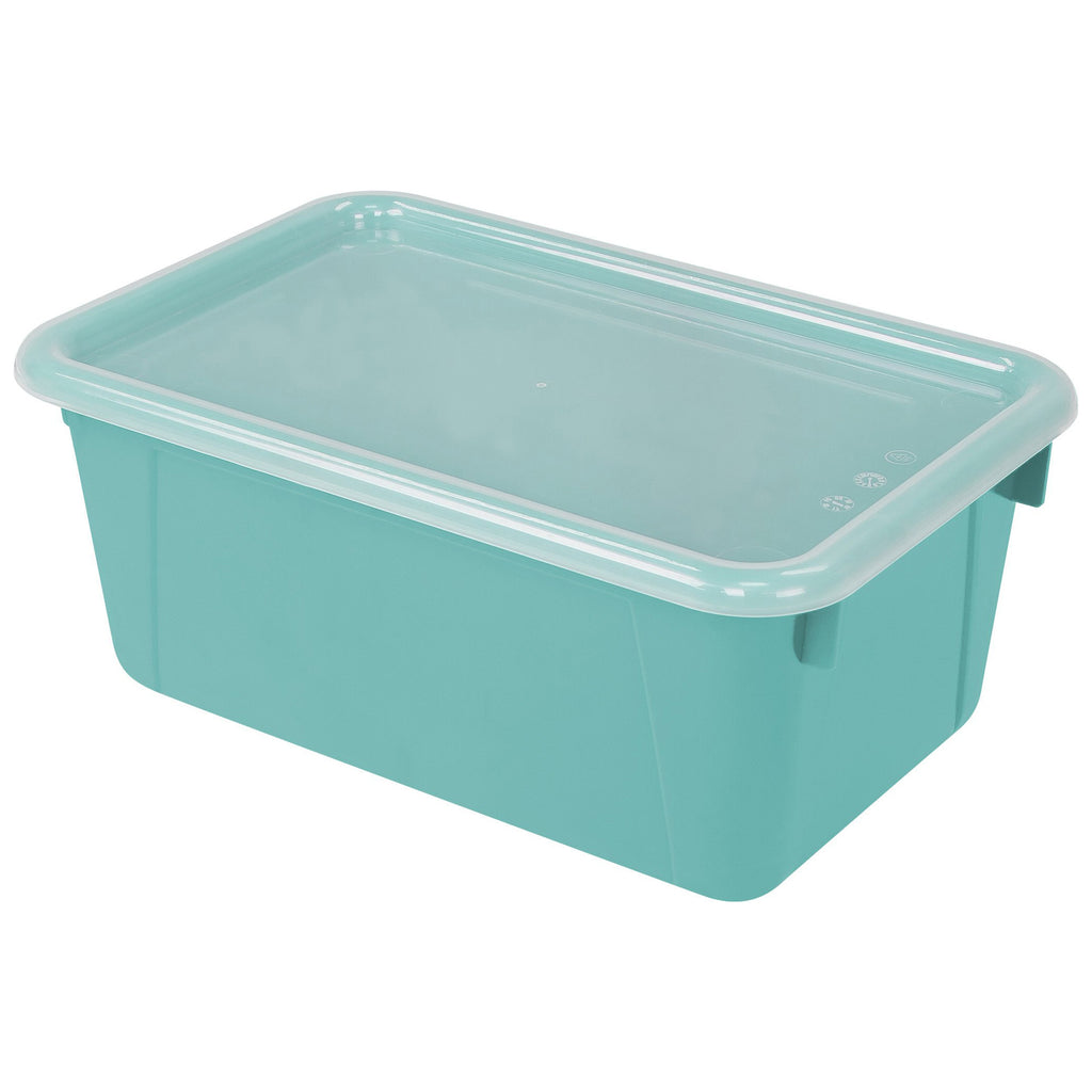 Storex Industries Small Cubby Bin with Cover, Teal