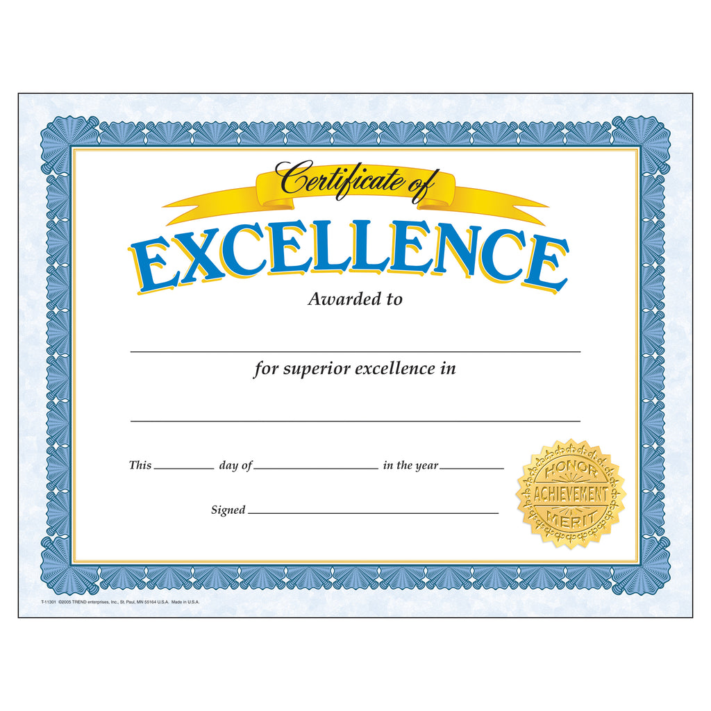 Trend Enterprises Certificate of Excellence Classic Certificates