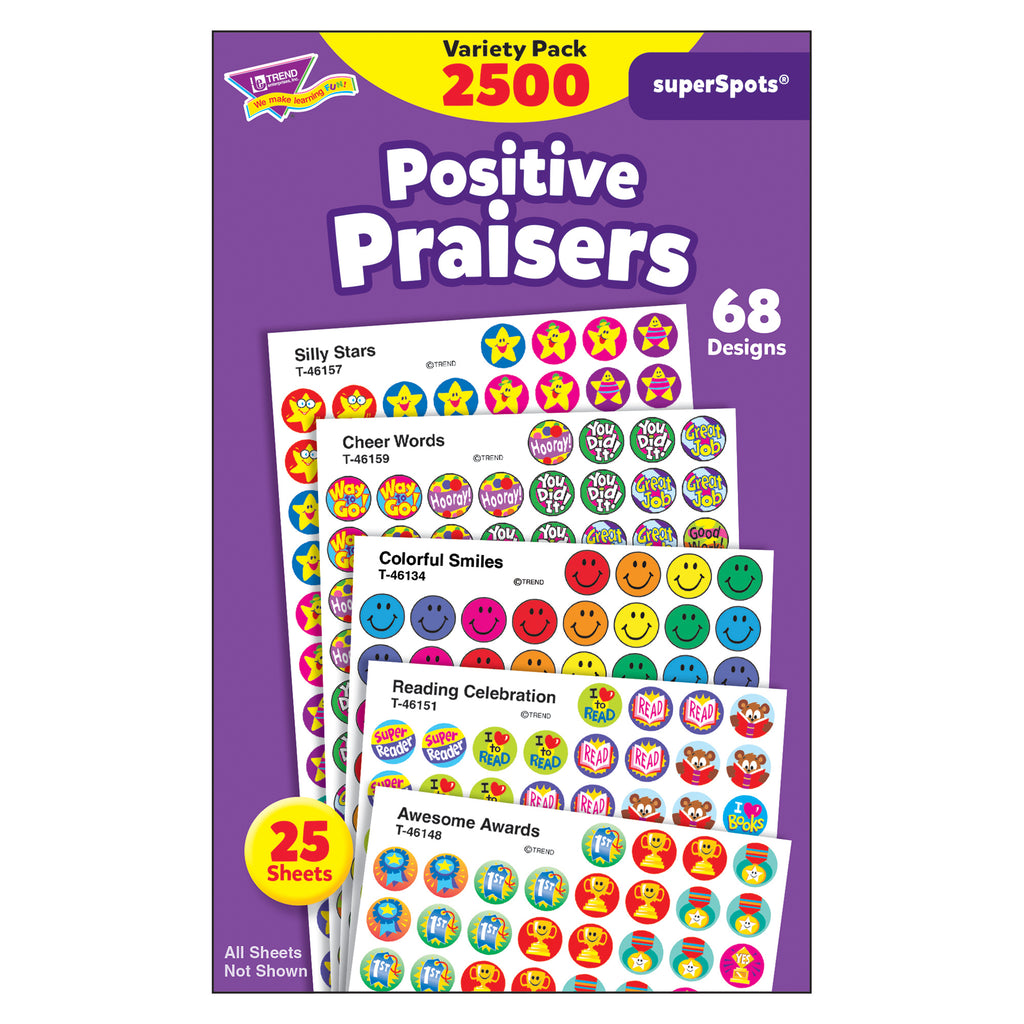 Trend Enterprises Positive Praisers superSpots® Stickers Variety Pack