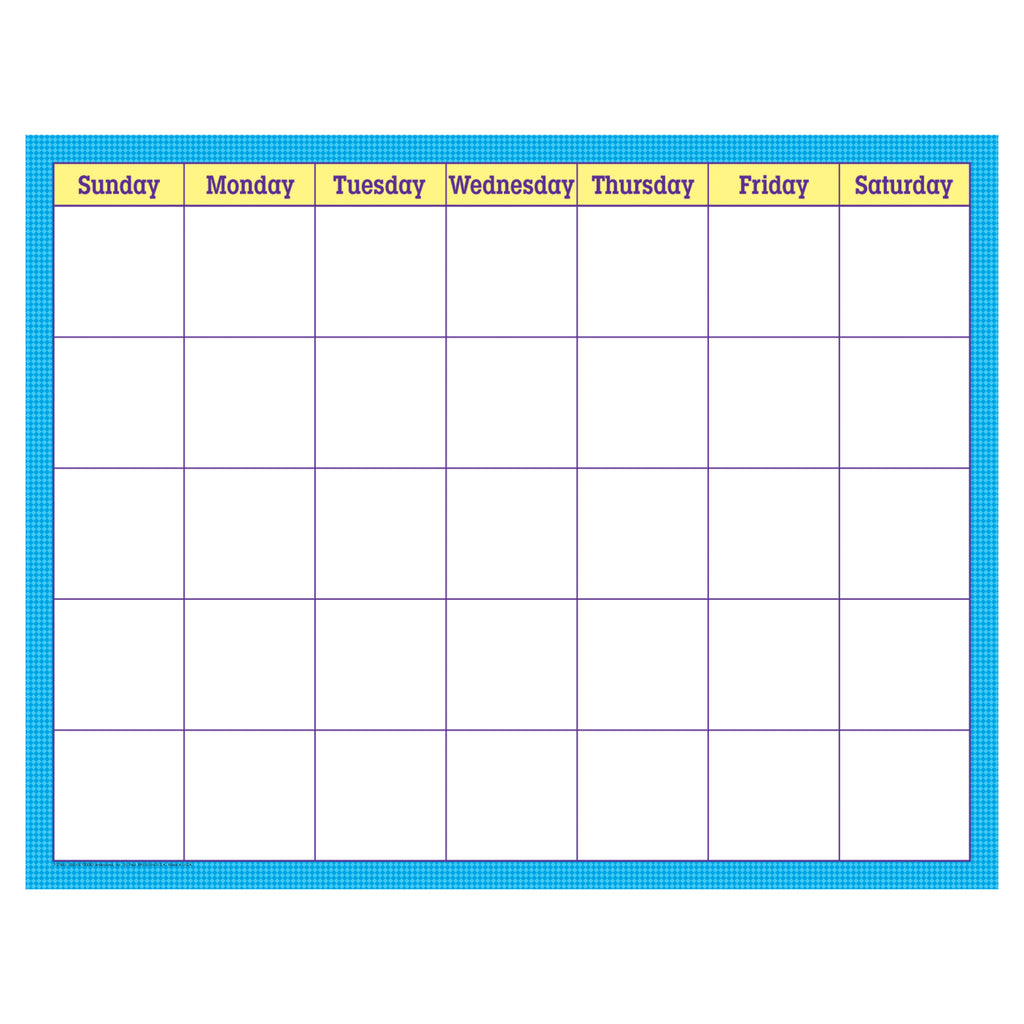 Trend Enterprises Blue Check Wipe-Off® Calendar – Monthly