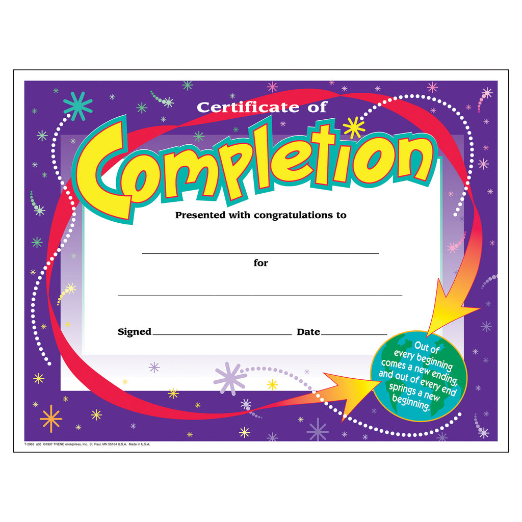 Trend Enterprises Certificate of Completion Colorful Classics Certificates