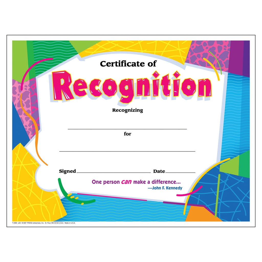 Trend Enterprises Certificate of Recognition Colorful Classics Certificates
