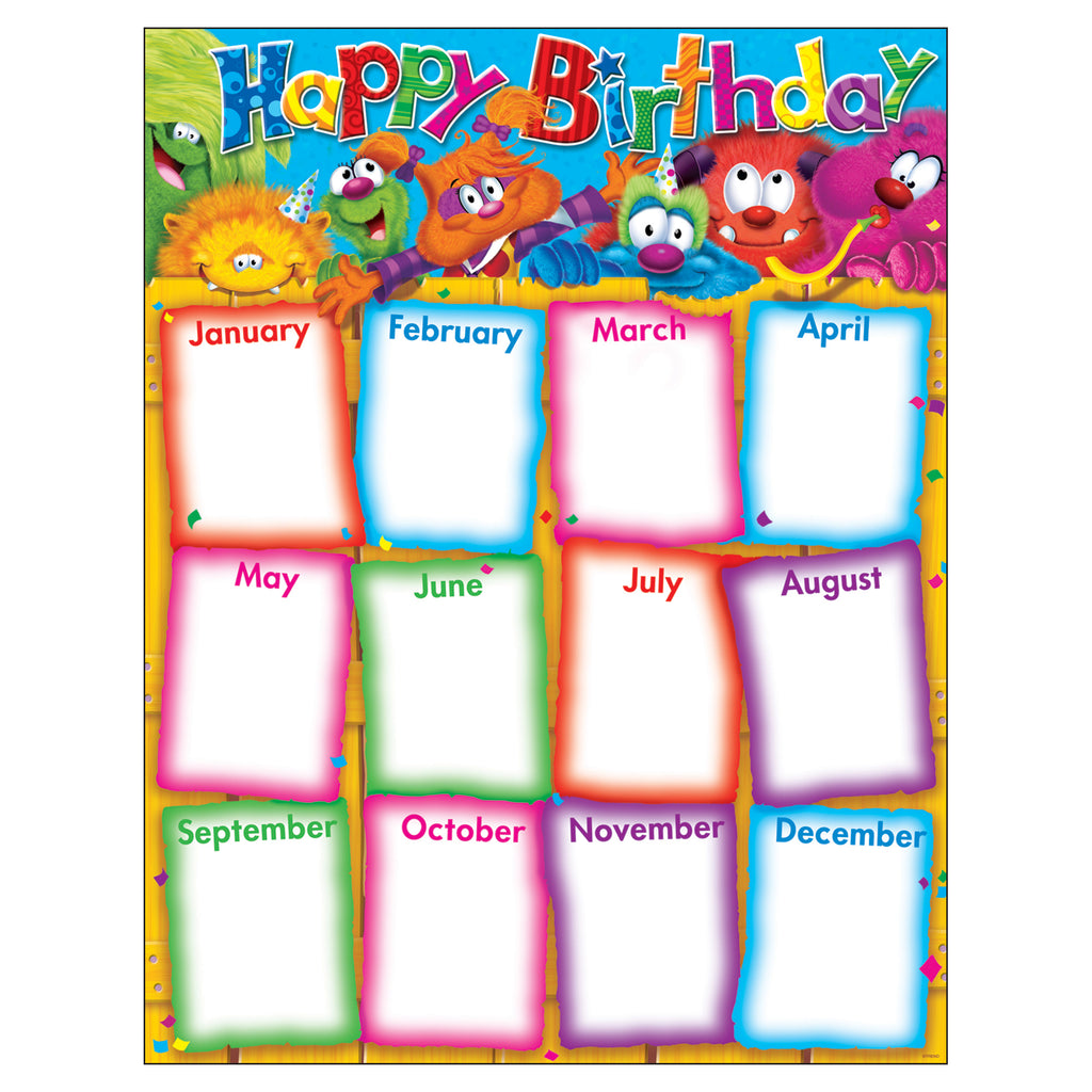 Trend Enterprises Happy Birthday (Furry Friends®) Learning Chart