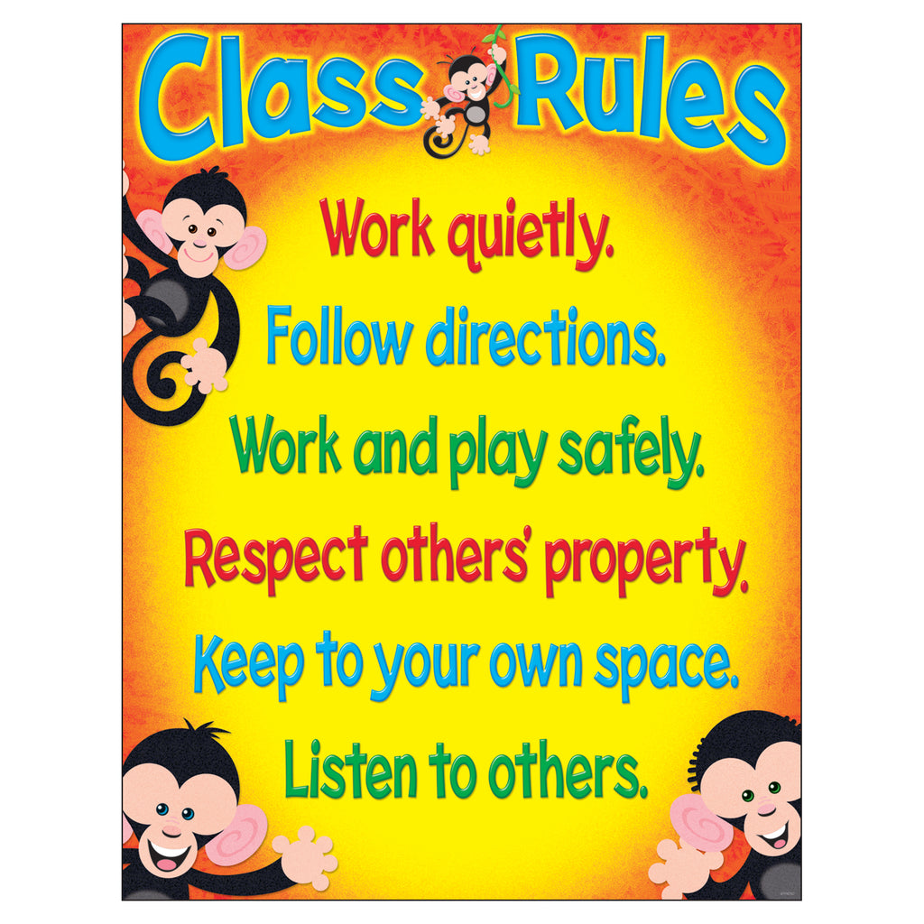 Trend Enterprises Class Rules (Monkey Mischief®) Learning Chart