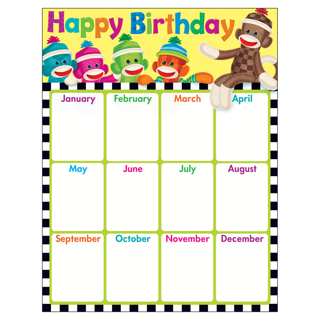 Trend Enterprises Birthday (Sock Monkeys) Learning Chart