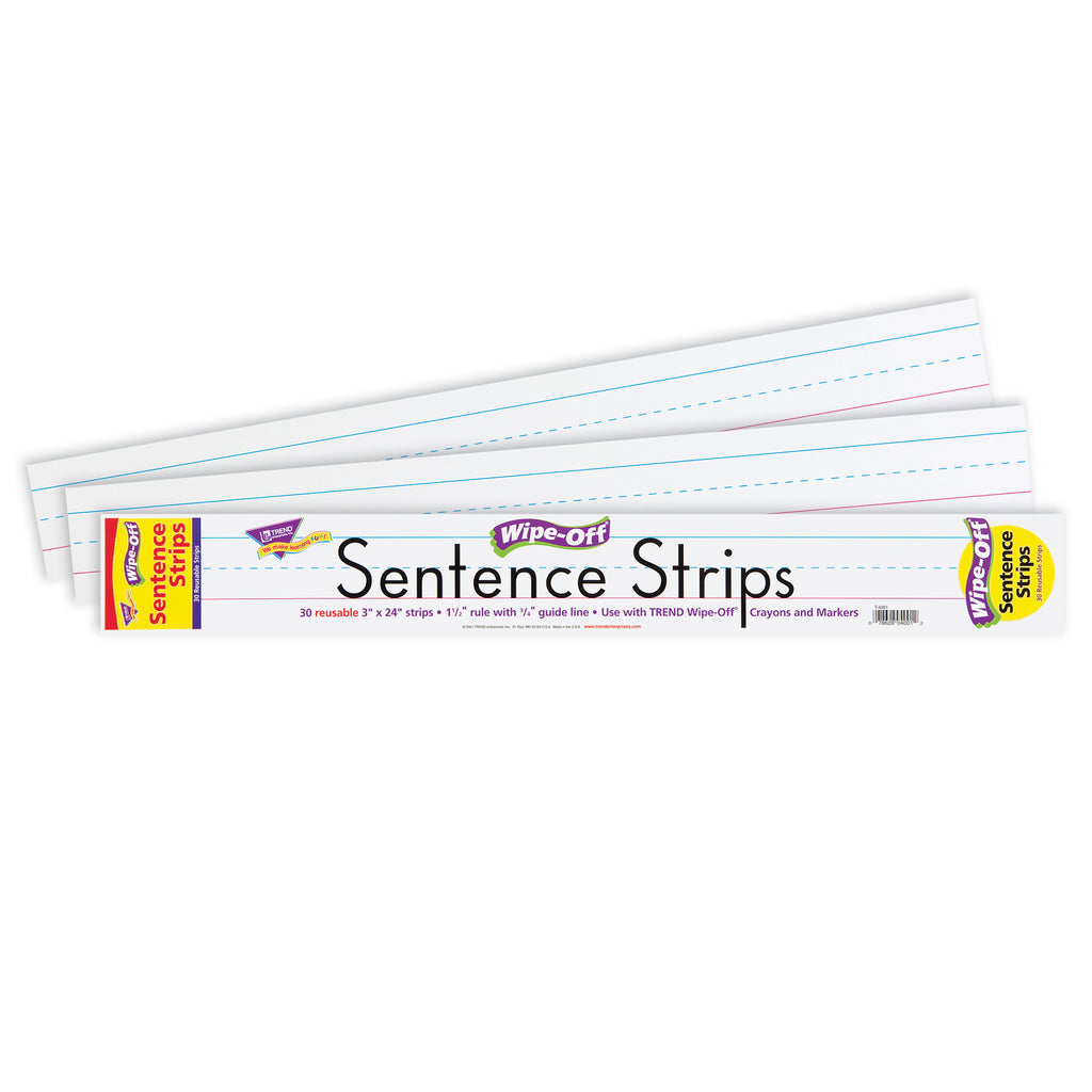 Trend Enterprises Wipe-Off® Sentence Strips, 24-Inch White