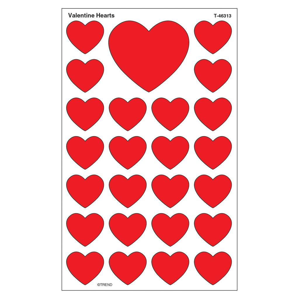 Trend Enterprises Valentine Hearts superShapes Stickers–Large