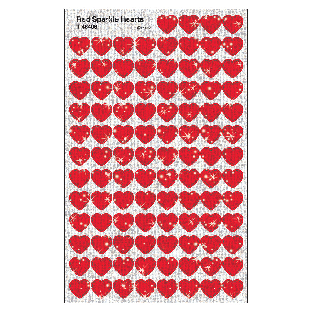 Trend Enterprises Red Hearts superSpots® Stickers–Sparkle