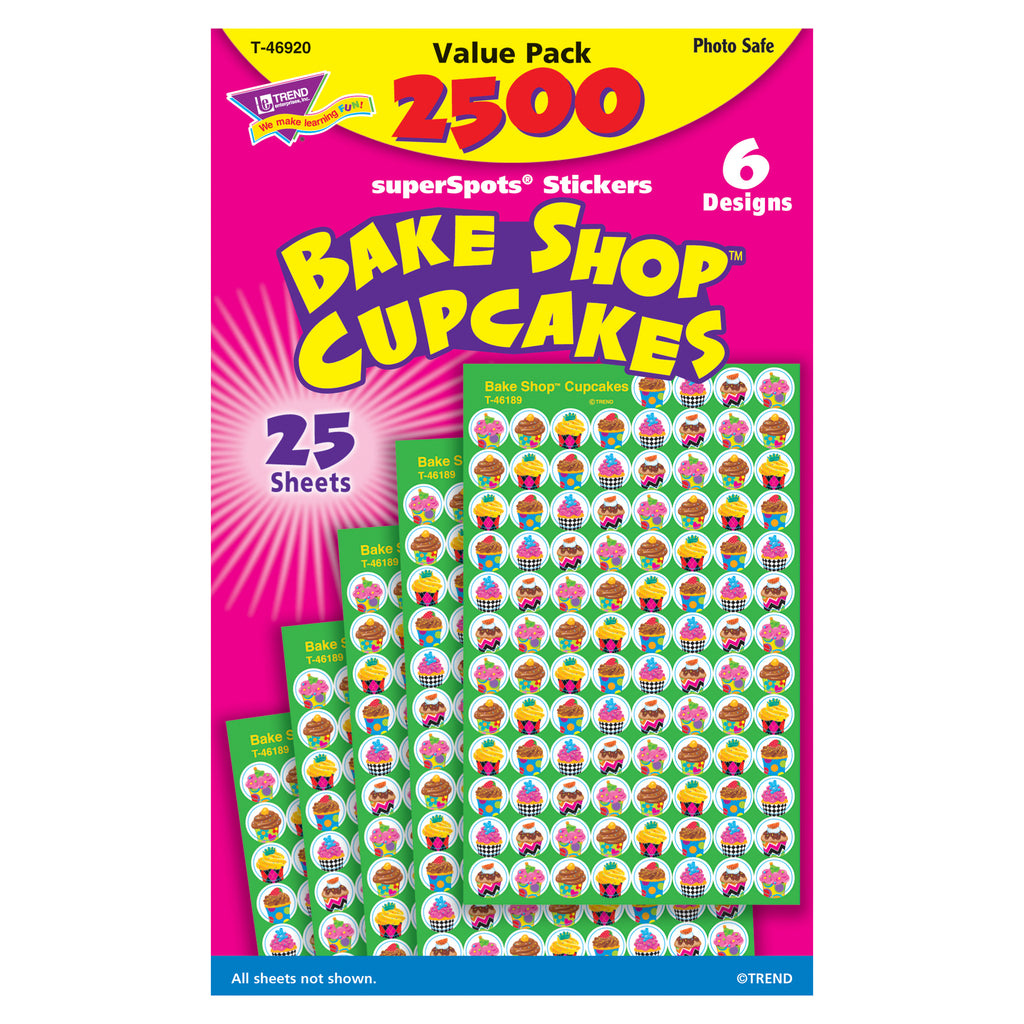 Trend Enterprises Cupcakes (The Bake Shop™) superSpots® Stickers Value Pack