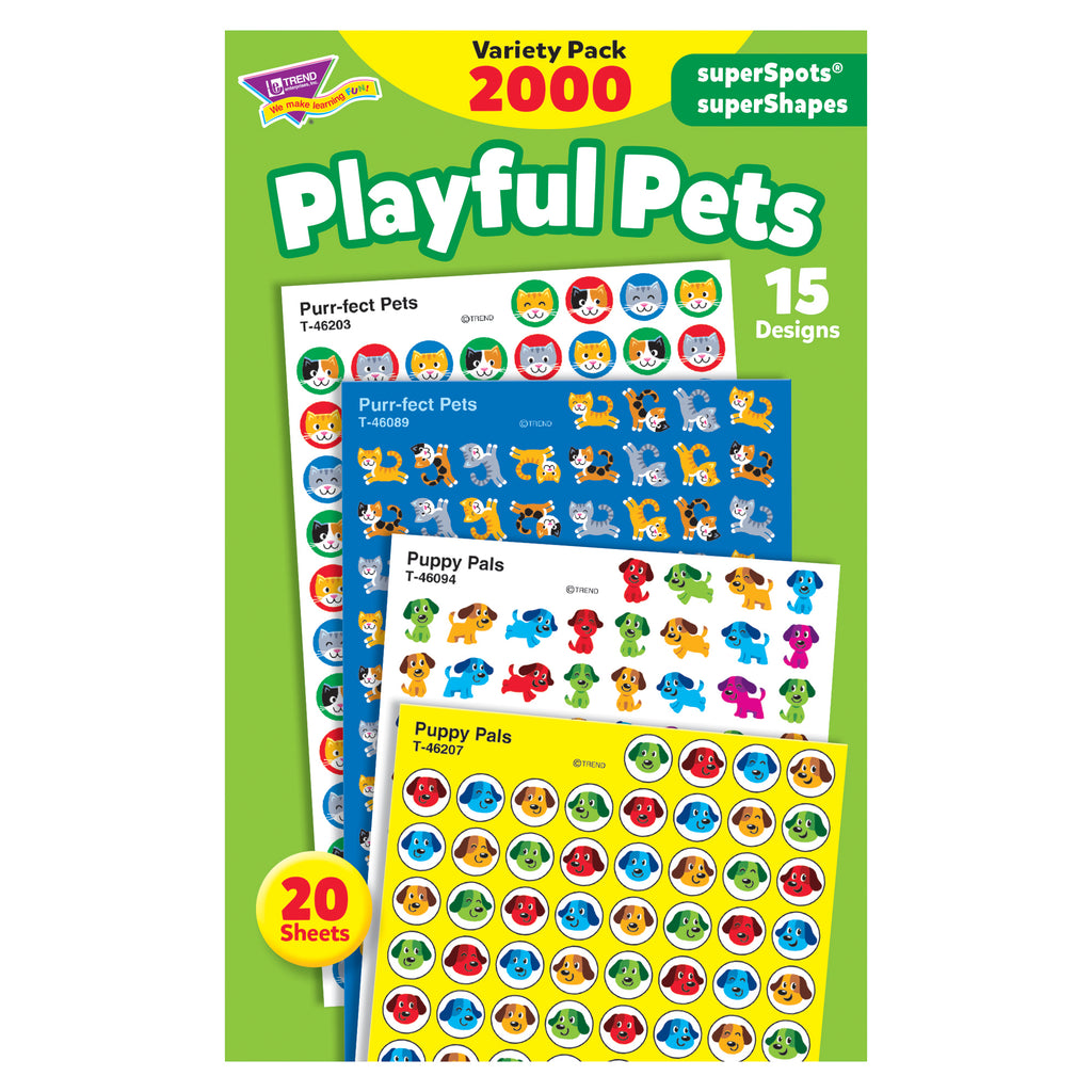 Trend Enterprises Playful Pets superSpots® and superShapes Stickers Variety Pack