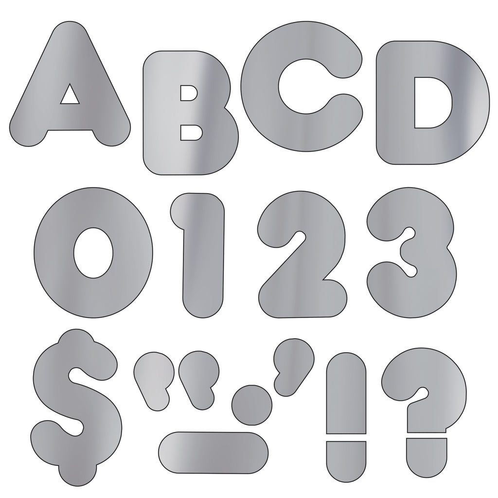 Trend Enterprises Silver Metallic 4-Inch Casual Uppercase Ready Letters®