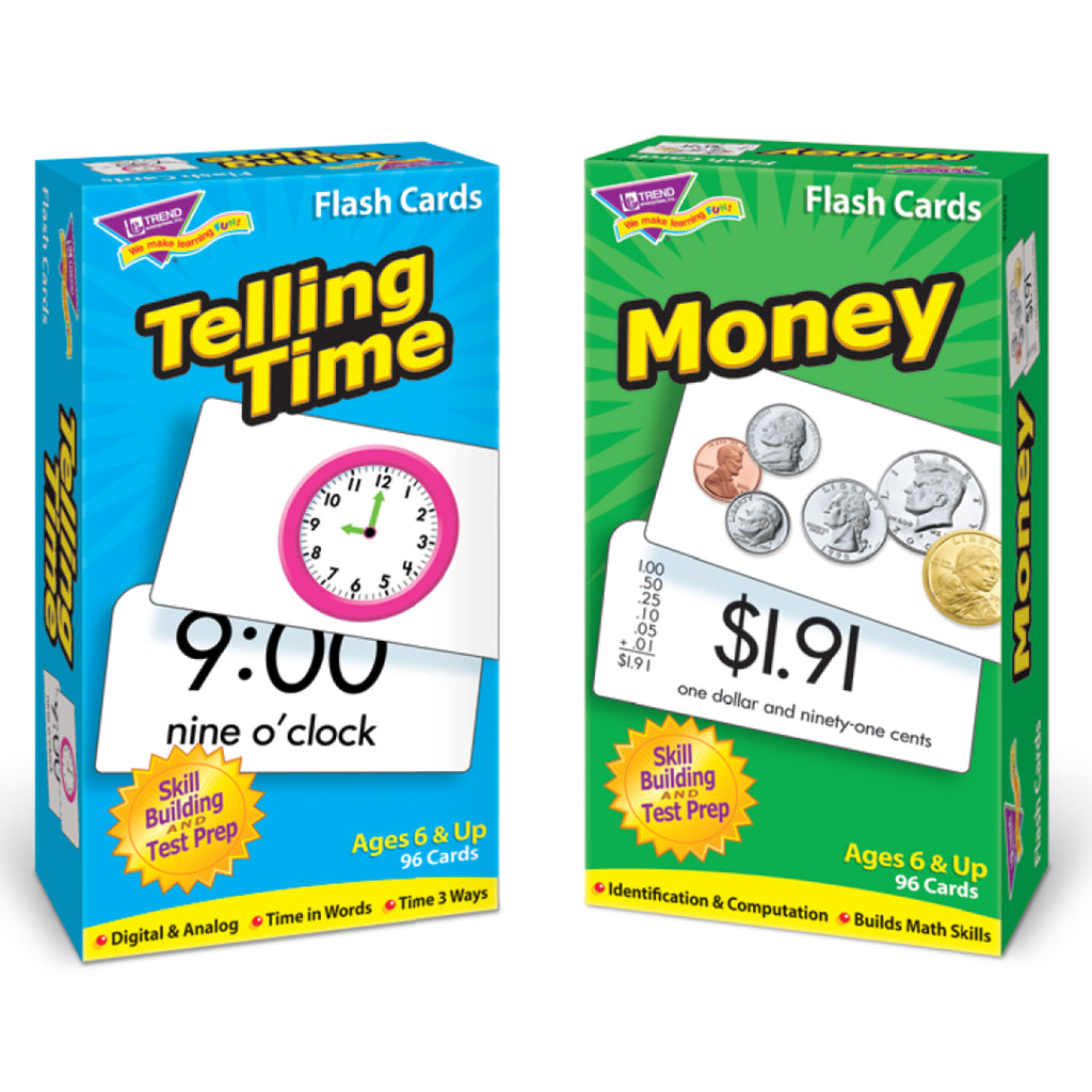 Trend Enterprises Telling Time & Money Flash Cards Set