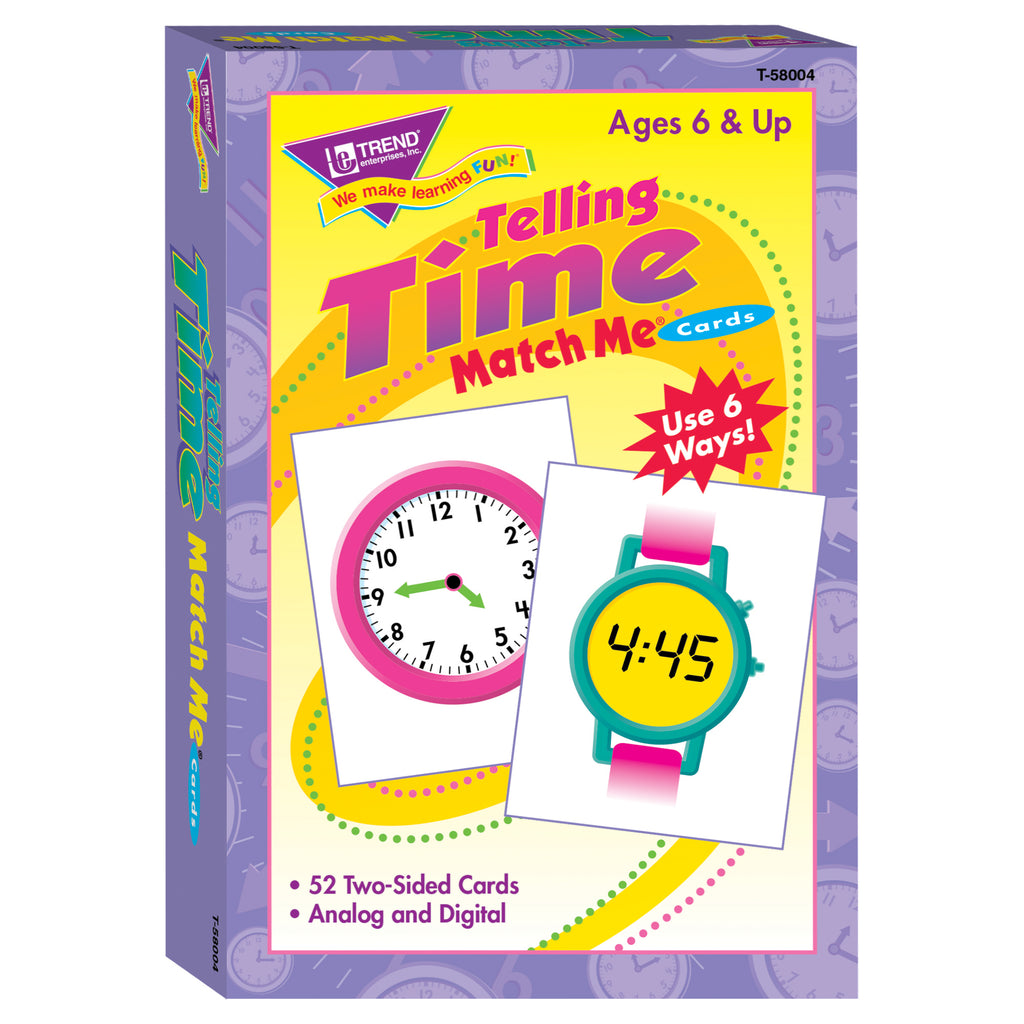 Trend Enterprises Telling Time Match Me® Cards