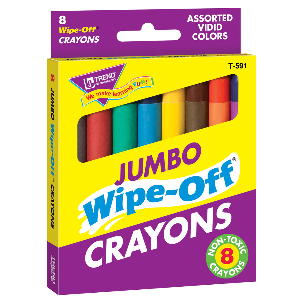 Trend Enterprises 8-Pack Jumbo Wipe-Off® Crayons