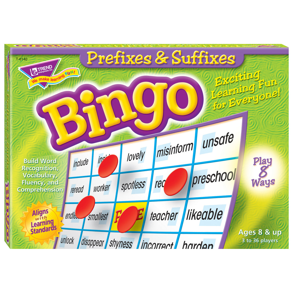 Trend Enterprises Prefixes & Suffixes Bingo Game