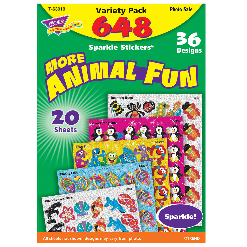 Trend Enterprises Animal Fun Sparkle Stickers® Variety Pack