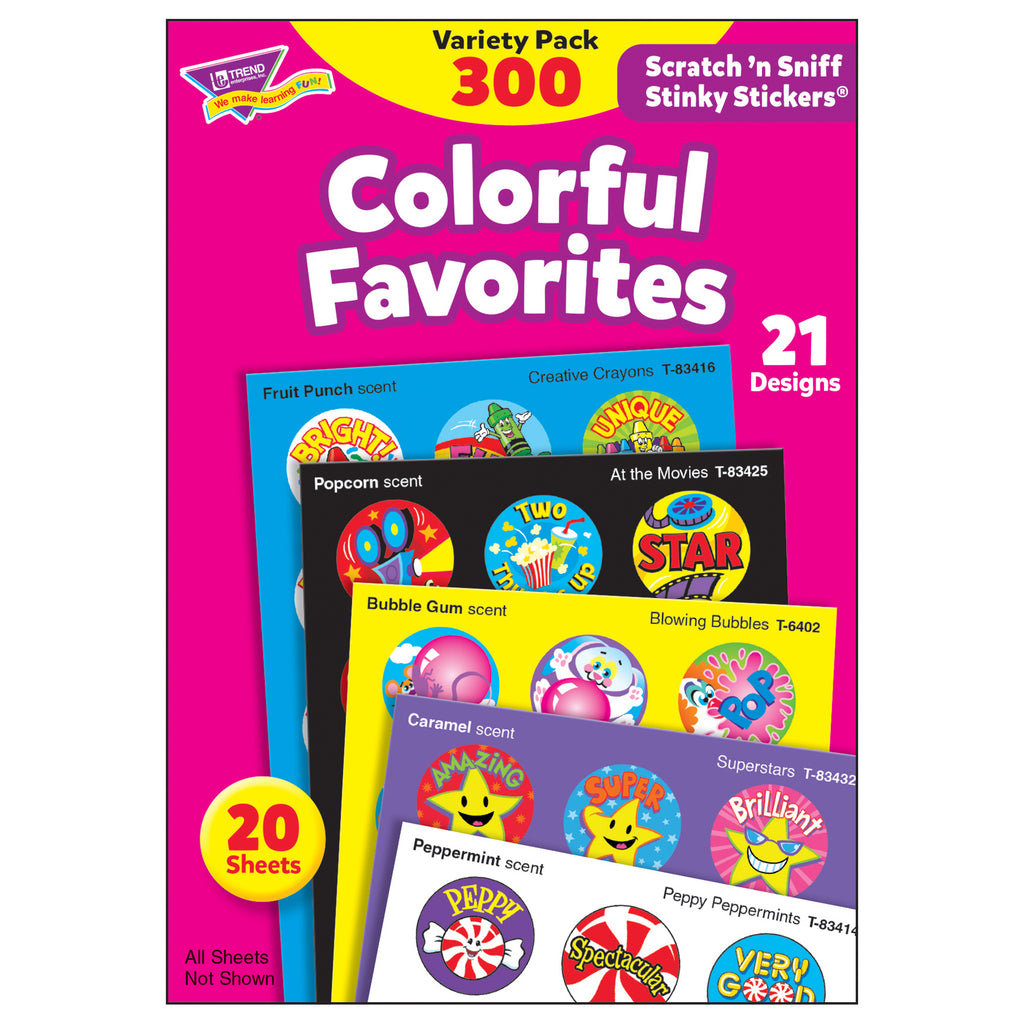 Trend Enterprises Colorful Favorites Stinky Stickers® Variety Pack