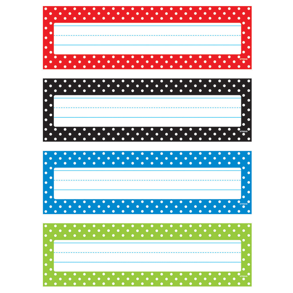 Trend Enterprises Polka Dots Desk Toppers® Name Plates Variety Pack
