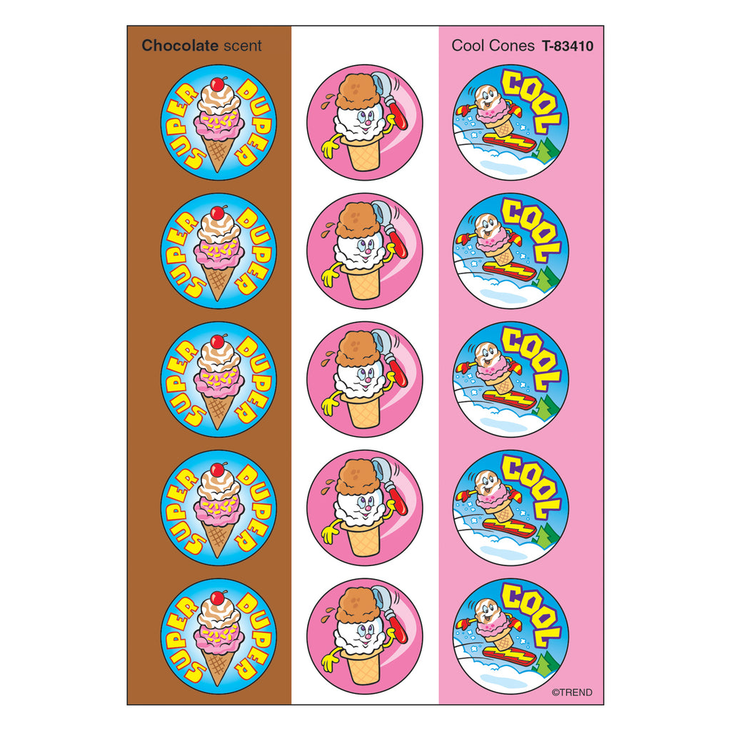 Trend Enterprises Cool Cones/Chocolate Stinky Stickers®–Large Round
