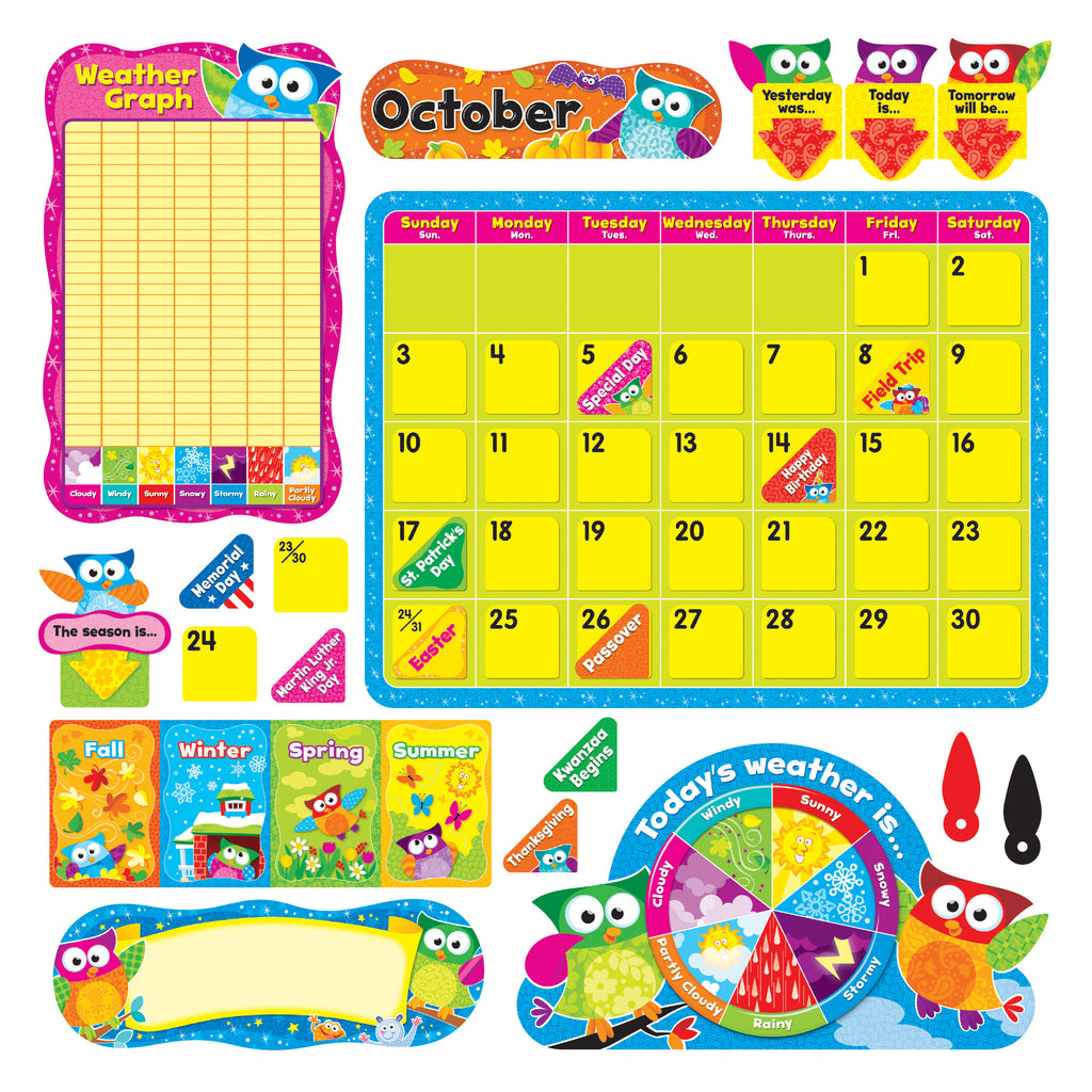 Trend Enterprises Owl-Stars!® Calendar Bulletin Board Set