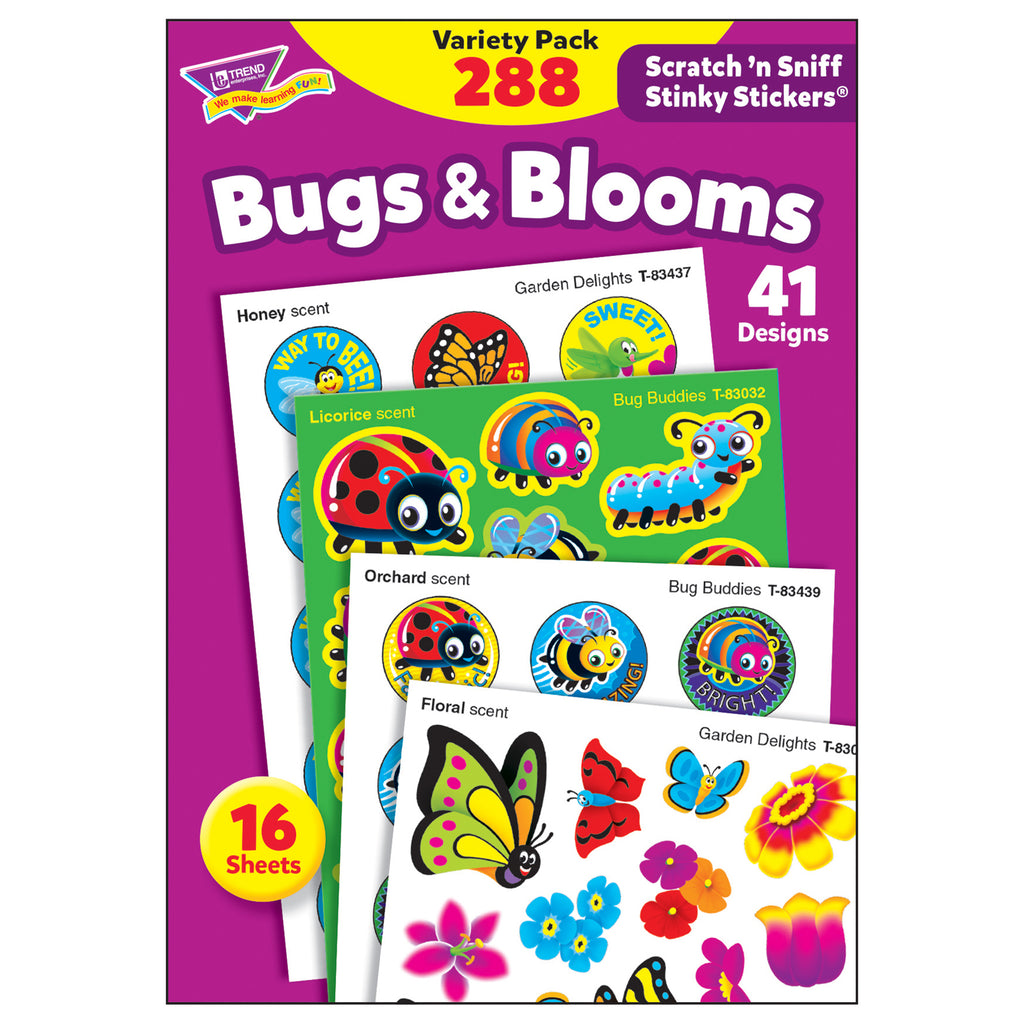 Trend Enterprises Bugs & Blooms Stinky Stickers® Variety Pack