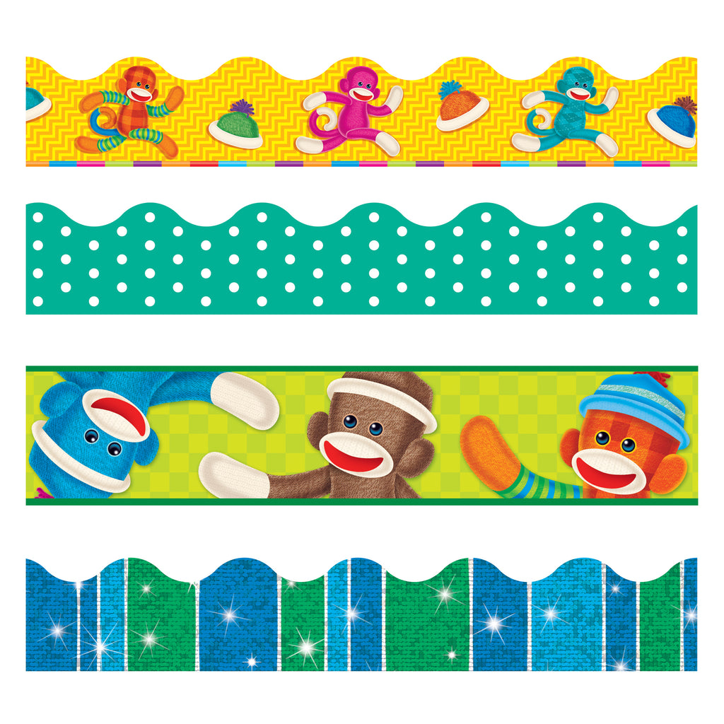 Trend Enterprises Sock Monkeys Terrific Trimmers® & Bolder Borders® Variety Pack