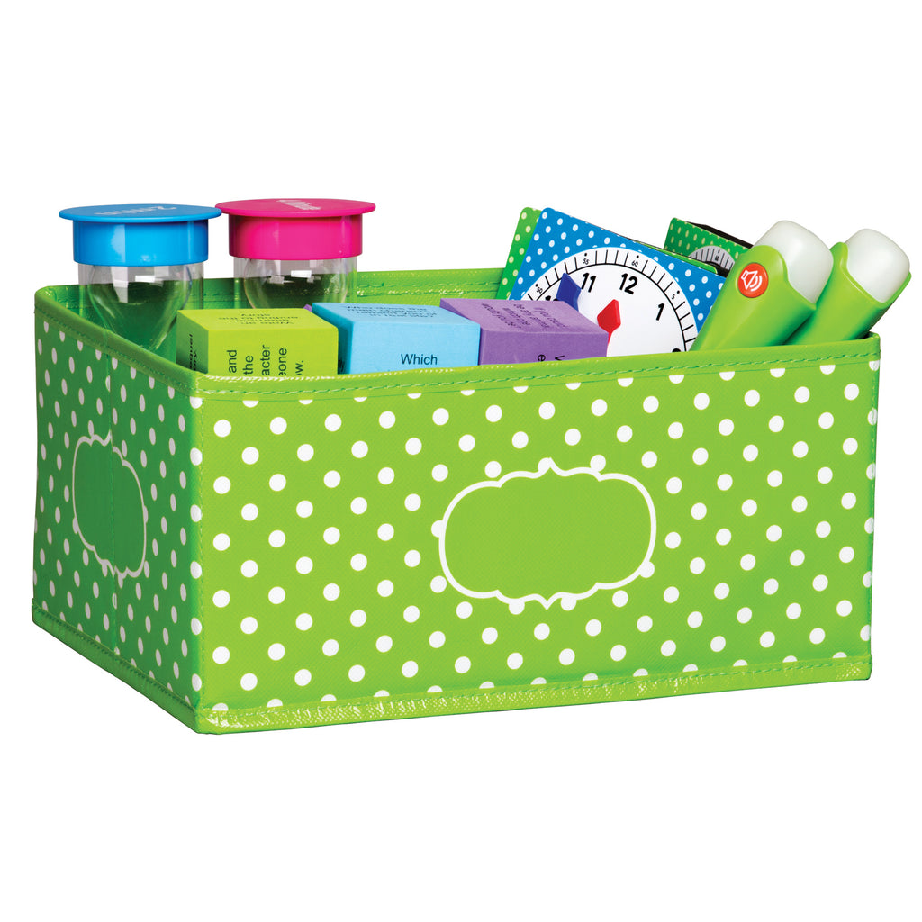 Teacher Created Resources Lime Polka Dots Small Storage Bin