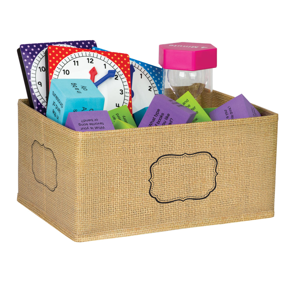 Teacher Created Resources Burlap Small Storage Bin