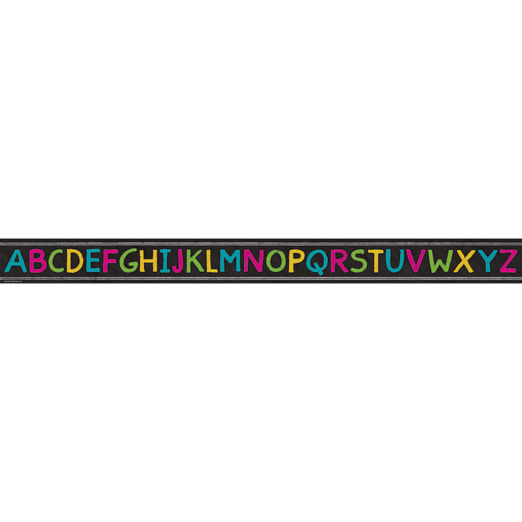 Teacher Created Resources Chalkboard Brights Alphabet Straight Bulletin Board Border Trim