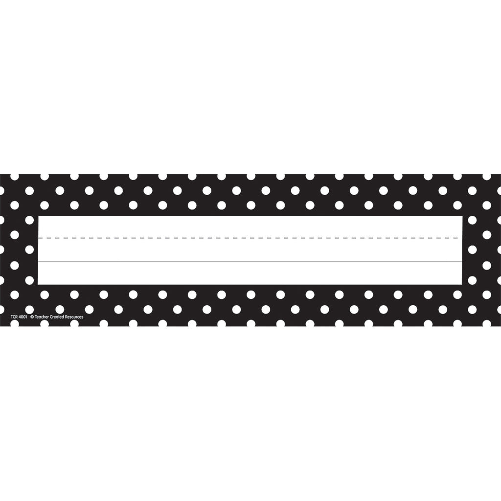 Teacher Created Resources Black Polka Dots Name Plates (flat)