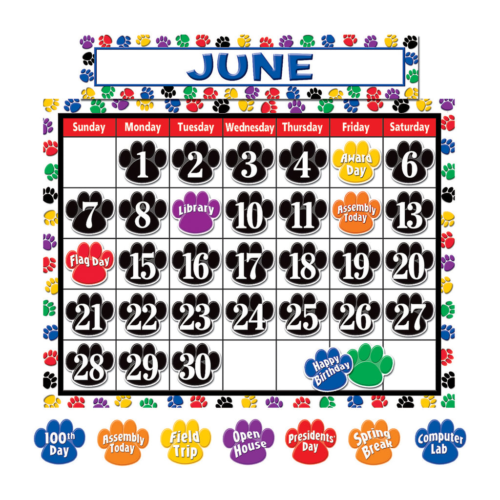 Teacher Created Resources Colorful Paw Prints Calendar Bulletin Board Set