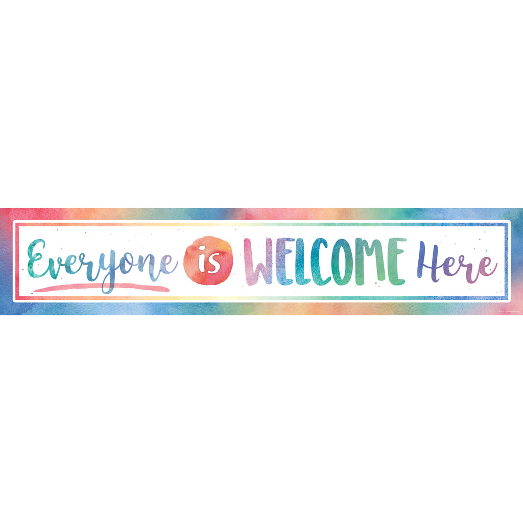 Teacher Created Resources Watercolor Everyone is Welcome Here Banner