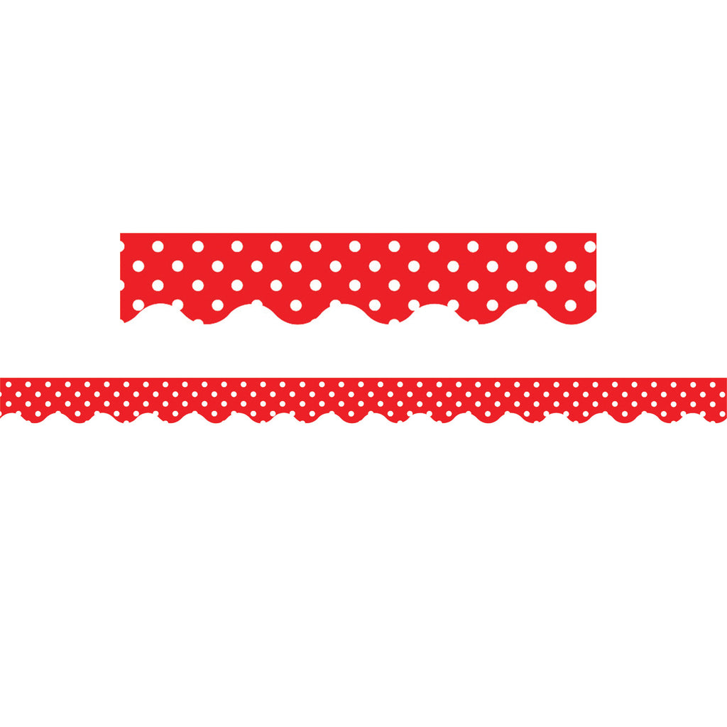 Teacher Created Resources Red Mini Polka Dots Scalloped Border Trim