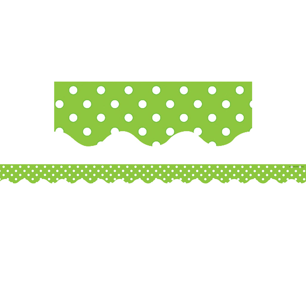 Teacher Created Resources Lime Green Mini Polka Dots Bulletin Board Borders, Scalloped