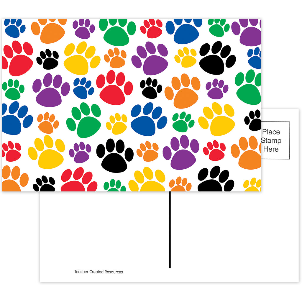 Teacher Created Resources Colorful Paw Prints Postcards