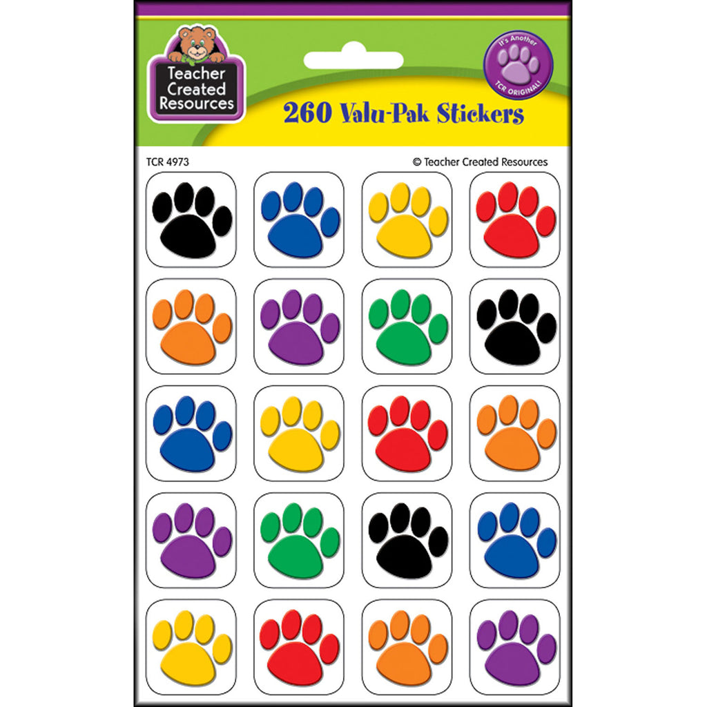 Teacher Created Resources Colorful Paw Prints Stickers Valu-Pak