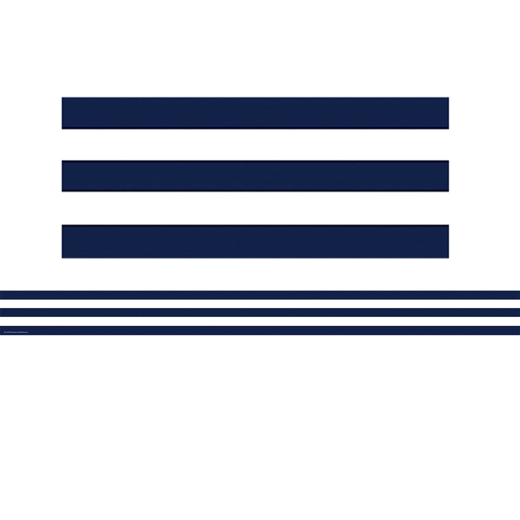 Teacher Created Resources Navy Blue and White Stripes Straight Border Trim
