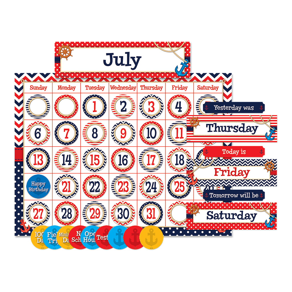 Teacher Created Resources Nautical Calendar Bulletin Board Display Set