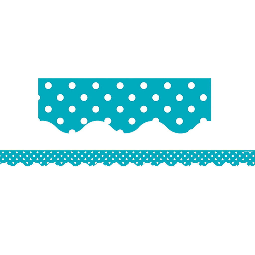 Teacher Created Resources Teal Polka Dots Scalloped Border Trim