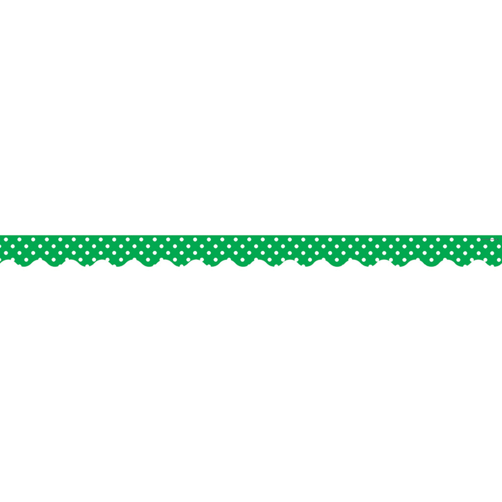 Teacher Created Resources Green Mini Polka Dots Scalloped Bulletin Board Border Trim
