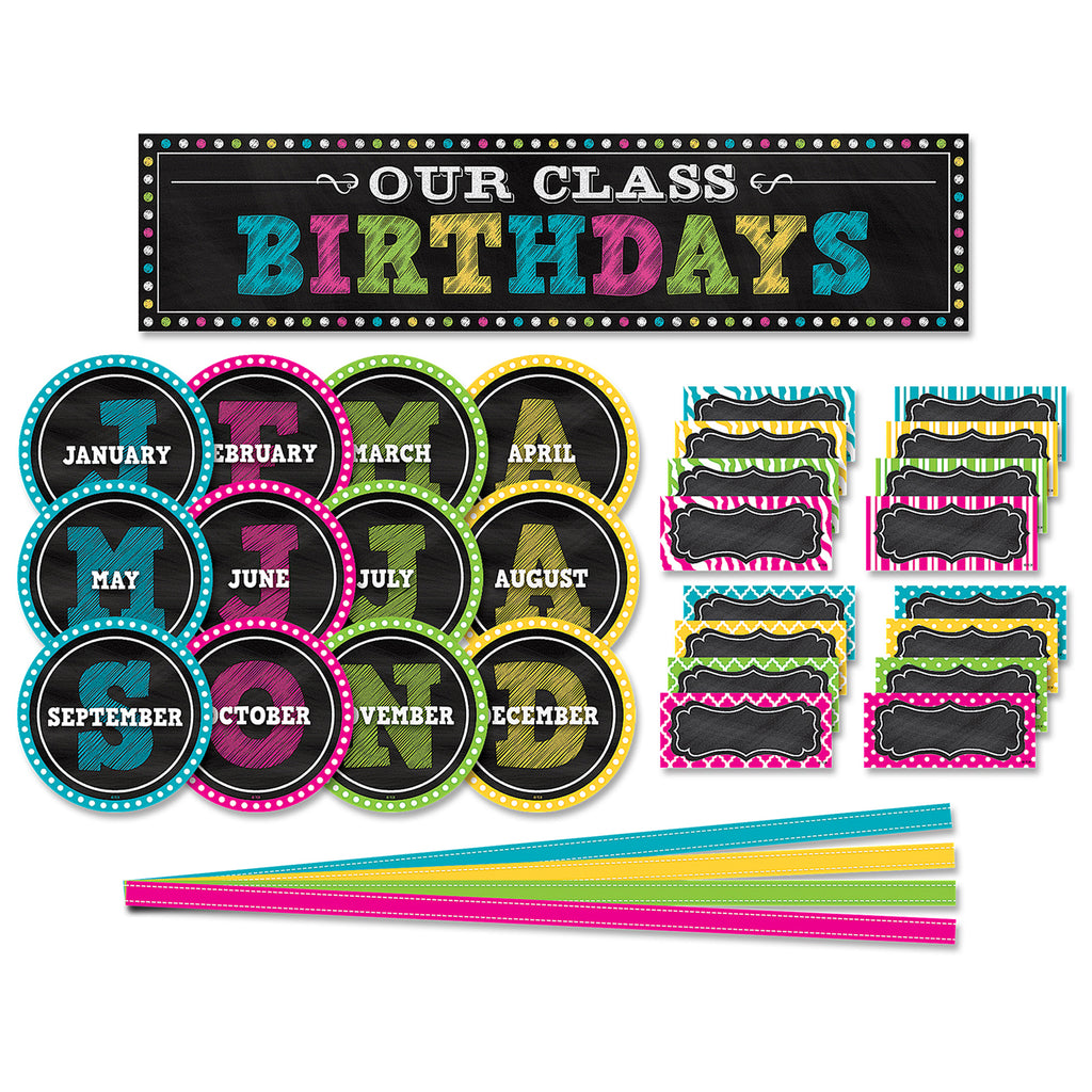 Teacher Created Resources Chalkboard Brights Our Class Birthdays Mini Bulletin Board Set