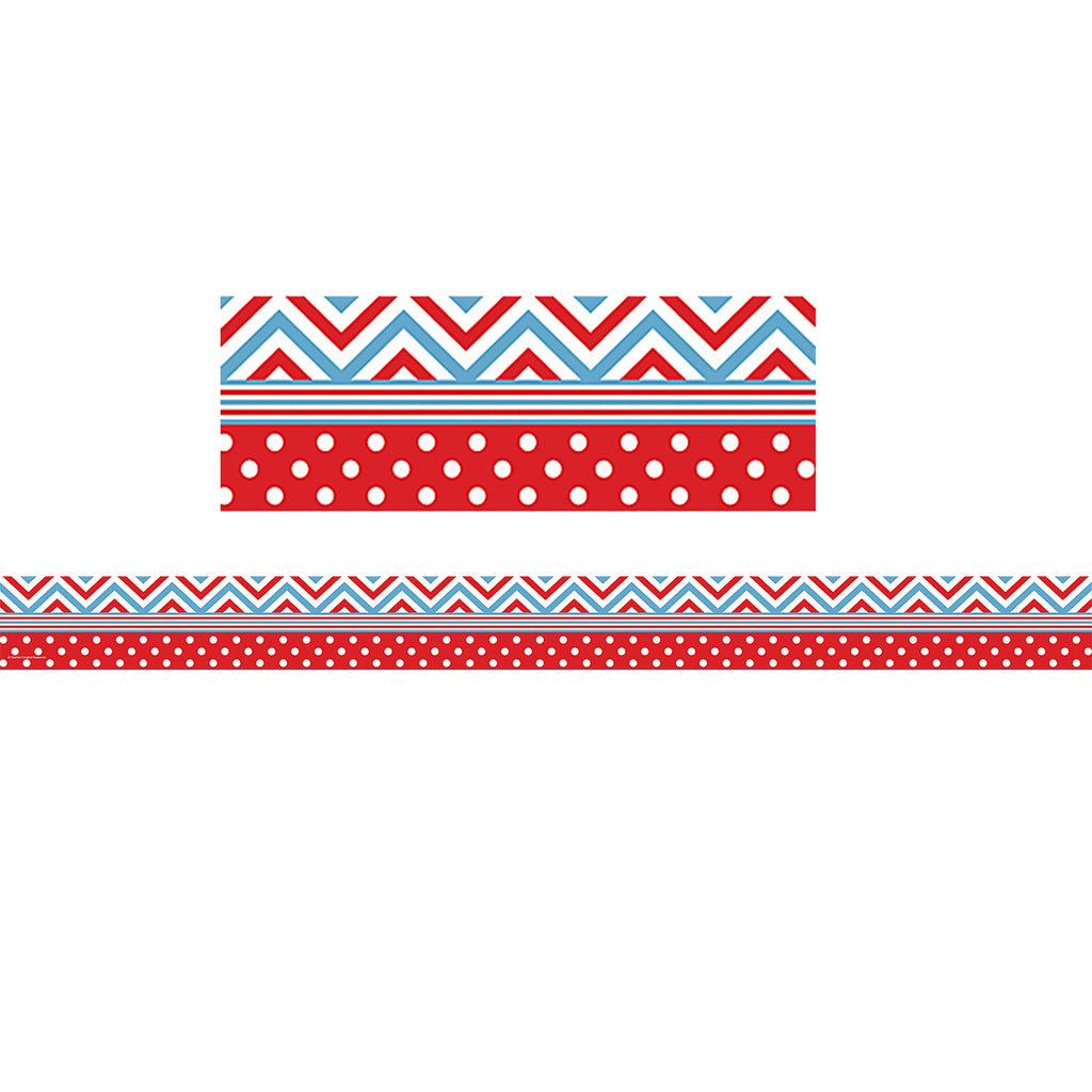 Teacher Created Resources Red & Blue Chevron & Dots Straight Bulletin Board Border