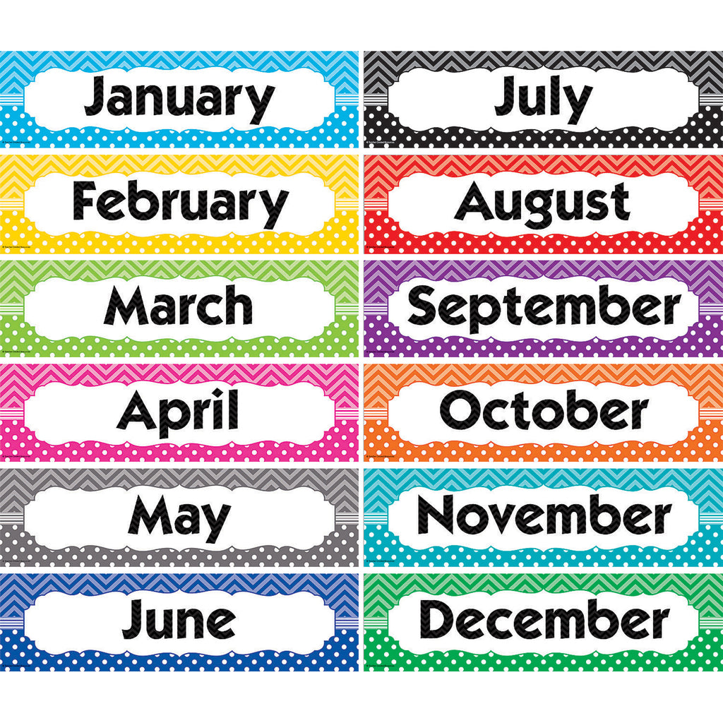 Teacher Created Resources Chevron & Dots Monthly Headliners