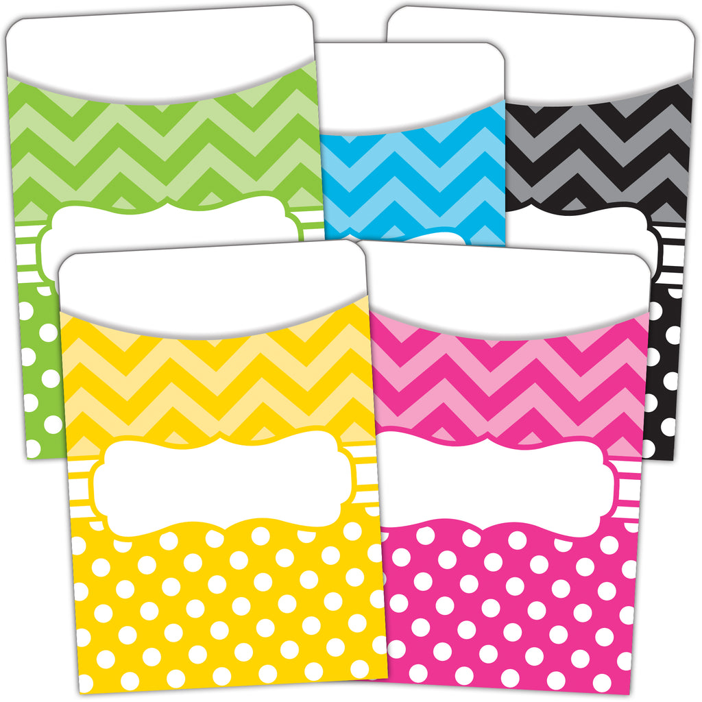 Teacher Created Resources Chevrons and Dots Library Pockets, Multi-Pack