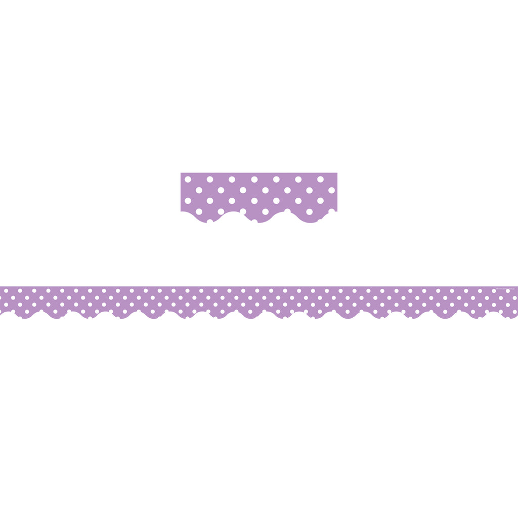 Teacher Created Resources Orchid Polka Dots Scalloped Border Trim