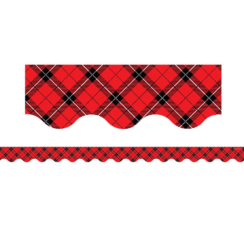Teacher Created Resources Red Plaid Scalloped Bulletin Board Border