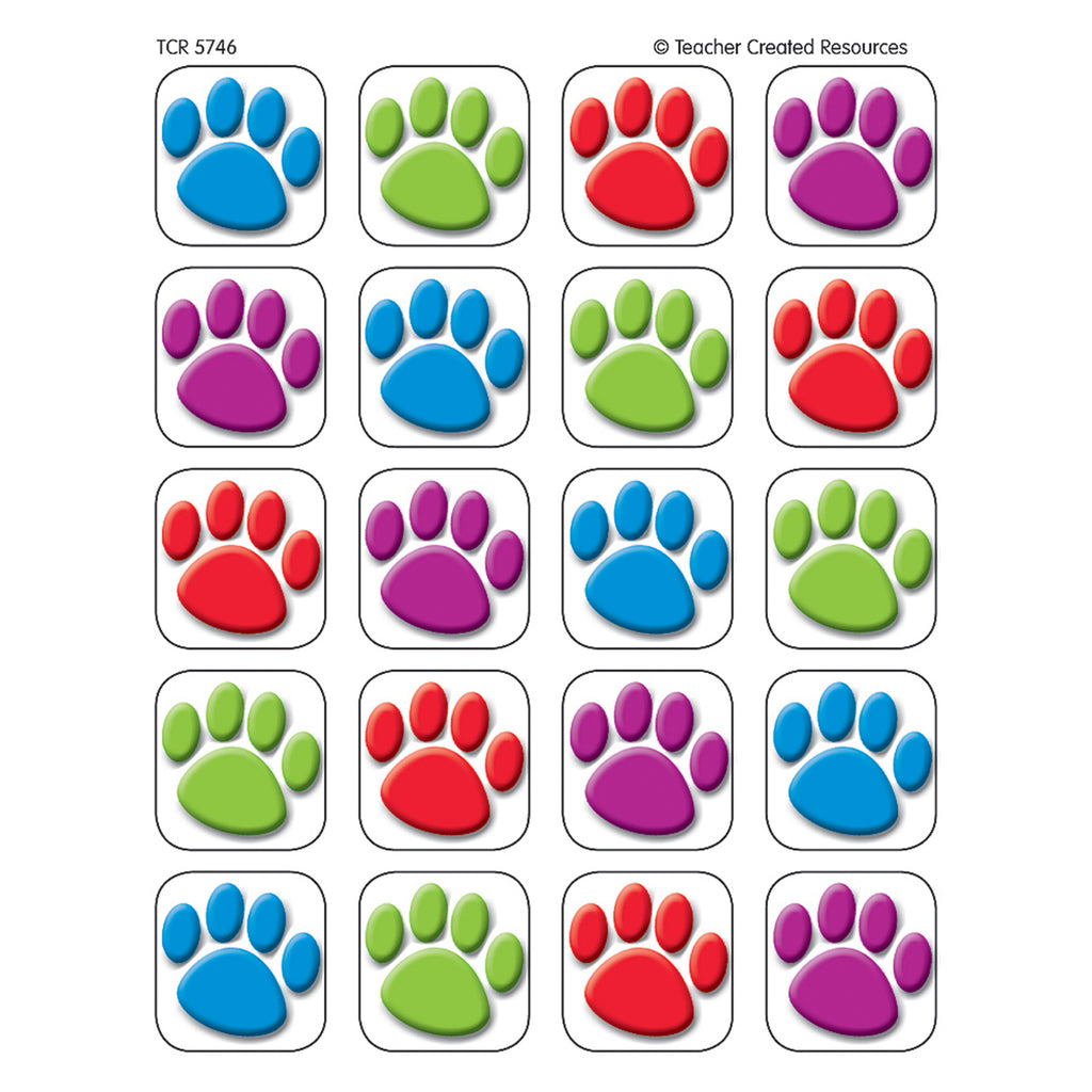 Teacher Created Resources Colorful Paw Prints Stickers