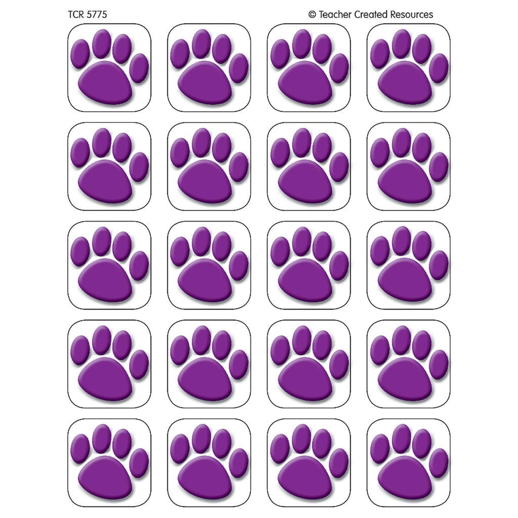 Teacher Created Resources Purple Paw Prints Stickers