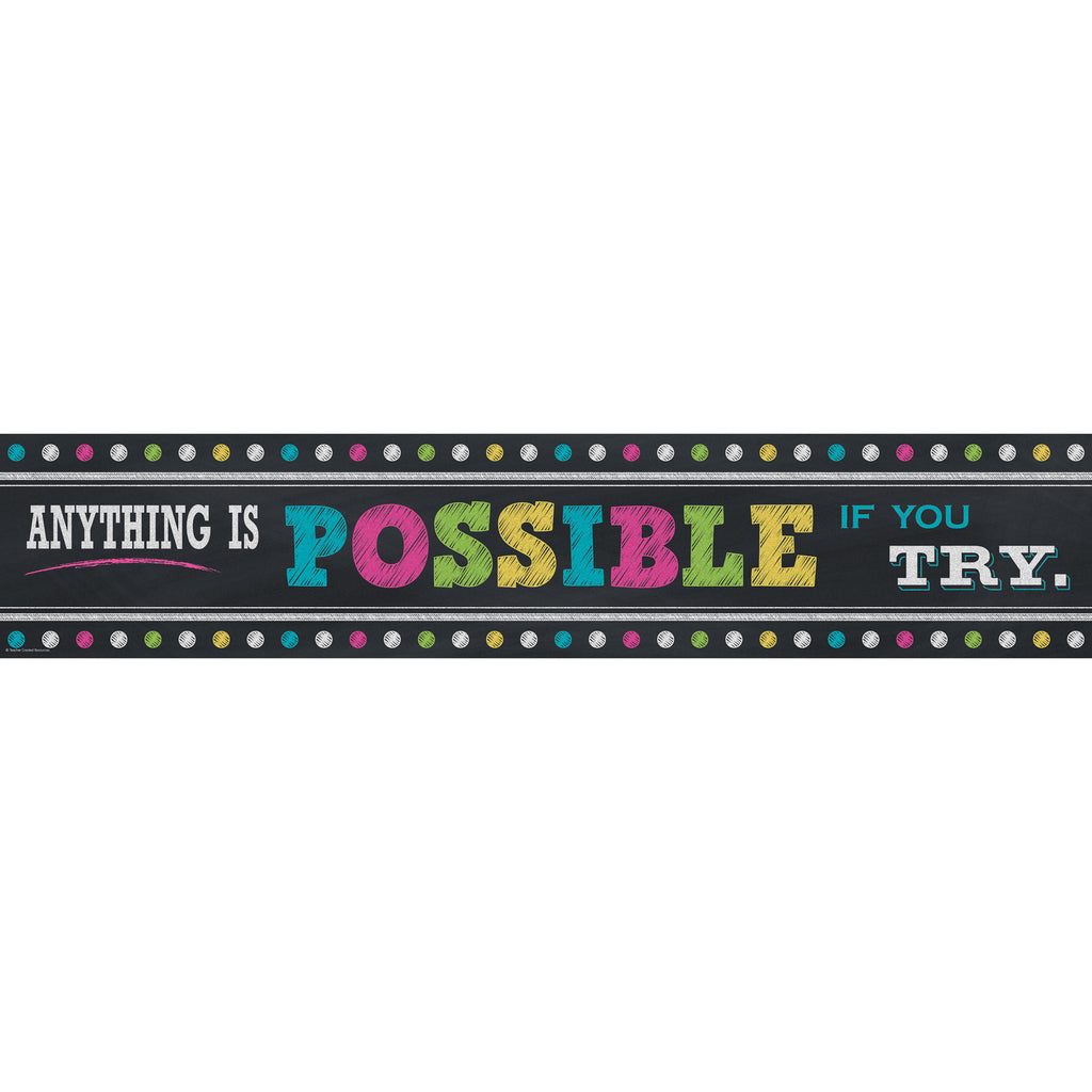 Teacher Created Resources Chalkboard Brights Anything is Possible Banner
