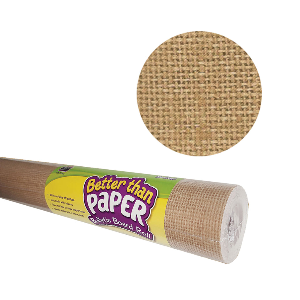 Teacher Created Resources Burlap Better than Paper Bulletin Board Fabric, Four 4' x 12' Rolls